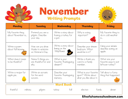 november writing prompts calendar for homeschool