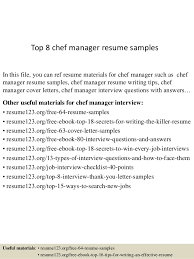 Resume Sample For Chef by Top 8 Chef Manager Resume Samples 1 638 Jpg Cb U003d1431769112