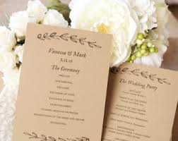 kraft paper wedding programs kraft paper wedding etsy