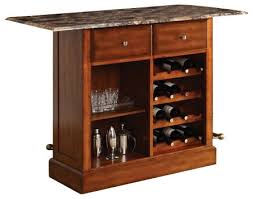 Wood Bar Cabinet Cherry Finish Wood Bar Cabinet Stand With Foot Rail And Wine Rack