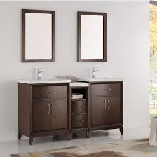 Bathroom Vanity With Side Cabinet Cambridge 60 U0027 U0027 Double Sink Traditional Bathroom Vanity W Mirrors