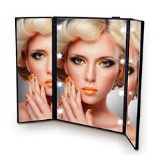 assis led lighted makeup mirror flymei premium tri fold led lighted travel makeup mirror portable