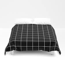 Black Duvet Covers Grid Simple Line Black Minimalistic Duvet Cover By Beautifulhomes