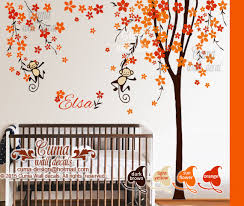 Cherry Blossom Tree Wall Decal For Nursery Nursery Wall Decal Orange Cherry Blossom By Cuma Wall Decals On Zibbet