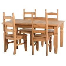 Corona Solid Pine Dining Set With  Chairs Furniture - Pine dining room table