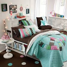 bedroom colorful teen girl bedroom ideas combined with colorful attractive blue bed runner decoration combined with small classical round white table on brown bedroom