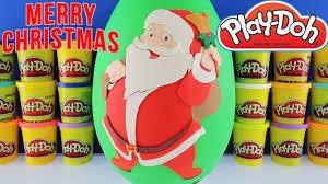 giant santa claus surprise egg play doh christmas toys frozen