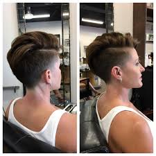 hair under cut with tapered side women s chic tapered undercut with side part on brunette hair