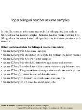 Bilingual Teacher Resume Samples by Bilingual Teacher Performance Appraisal
