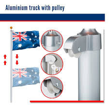 Flag Pole Pulley 7 6m Australian Flag Pole Kit Aluminium W Pulley System Aussie