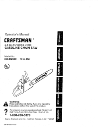 craftsman chainsaw 358 352680 18 in bar user guide