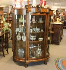 Oak Curio Cabinets Antique Oak China Curio Cabinet With Detailed Lions Heads China