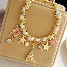 gold chain leather bracelet images Fashion jewelry multielement gold chain leather rope crystal jpg