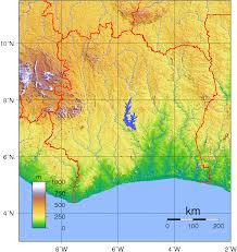 Ivory Coast Map File Ivory Coast Topography Png Wikimedia Commons