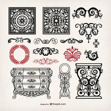 vintage style furniture and ornaments free vectors 123freevectors