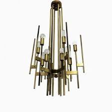 Brushed Brass Chandelier Mid Century Italian Large Brass Chandelier With 21 Lights By