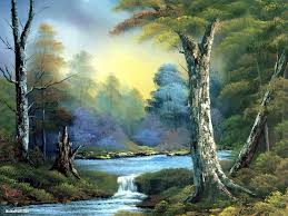 the bob ross painting above is an example of the medium because he