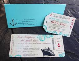 luggage tag save the date swirls anchors ship antique cruise ticket wedding invitations
