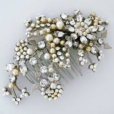 hair brooch design by debra moreland lena horne pearl bridal comb