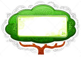 green tree placard with banner in ecology style by abrams