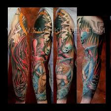 heaven and hell sleeve tattoo designs pictures to pin on pinterest