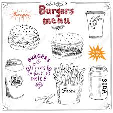 burger menu hand drawn sketch fastfood poster with hamburger
