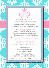 baby shower lunch invitation wording baby sprinkle blue pink damask baby shower invitation