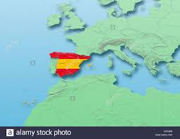 physical map of spain spain flag map western europe green blue physical political