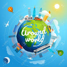 around the world tour by different vehicle travel concept vector