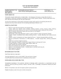 Resume Hotel Job by Job Maintenance Job Description Resume