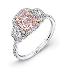 engagement rings pink images Cushion pink diamond 3 stone engagement ring 925 sterling silver jpg