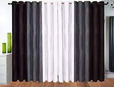 Black And Grey Curtains Pair Of Silver Black Luxury Heavy Stripe Chenille Lined Eyelet