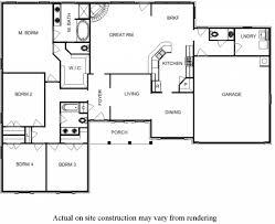 4 bedroom 1 story house plans floor plan 4 bedroom floor plans for one story house bill