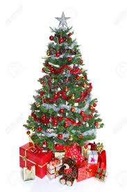 decorated christmas tree with baubles and tinsel surrounded by