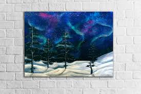 northern lights modern galaxy art teal blue home decor