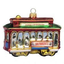 pottery barn trolley ornament san francisco cable car glass ebay