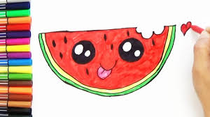 how to draw cute watermelon slice step by step cute and easy