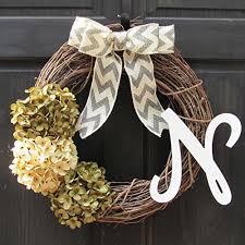 year monogram wreath initial front door