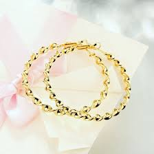 gold earrings for women images wholesale 24k gold plated hoop earrings for women he058