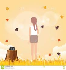 woman leve her camera to enjoy weather fall leave autumn in warm