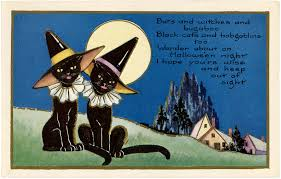 vintage witch wallpaper vintage halloween witch cats the graphics fairy