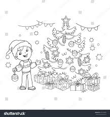 coloring page outline cartoon boy decorating stock vector