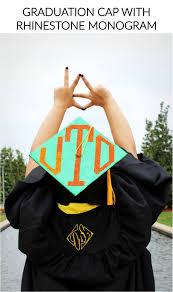 monogram graduation cap graduation cap with rhinestone monogram danicat