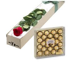 Chocolate Delivery Red Roses Box With 24pcs Ferrero Chocolate Delivery To Philippines