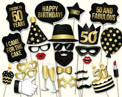 50th birthday party supplies 50th birthday photo booth props printable pdf black and gold
