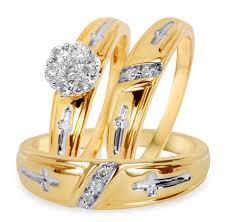 his and wedding ring set 3 8 carat t w diamond trio matching wedding ring set 14k yellow gold