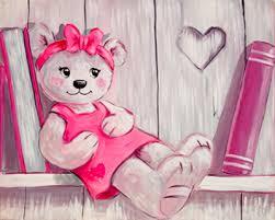tableau pour chambre bébé fille peinture sur toile ourson fille vente tableau ourson pour