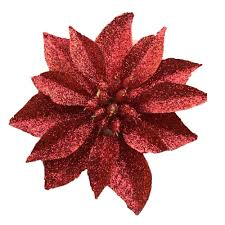 artificial poinsettia flowers set of 24 small glitter