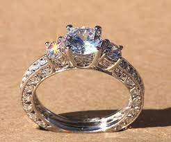 luxury gold rings images Diamond engagement ring vintage style 1 85 carat round 14k jpg
