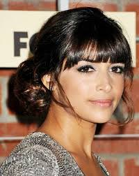 blunt fringe hairstyles s low bun hairstyle with blunt bangs prom wedding